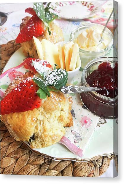 Sweet Tea Canvas Print - Scones And Jam by Tom Gowanlock