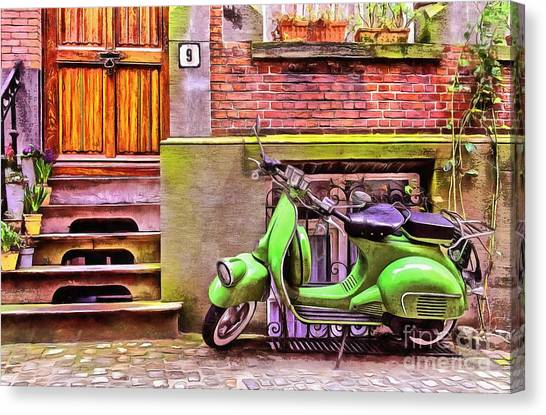 Stoops Canvas Print - Scooter Parking Only by Edward Fielding