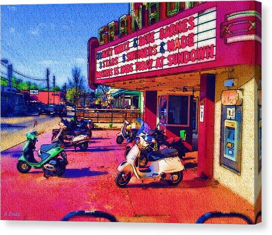 Scoot Canvas Print - Scooting To The Show by Alec Drake