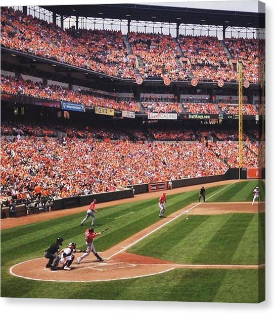 Home Runs Canvas Print - Scorcher At The Ballpark by Nick Beatty