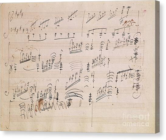 Papers Canvas Print - Score Sheet Of Moonlight Sonata by Ludwig van Beethoven