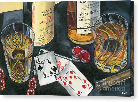 Amber Canvas Print - Scotch Cigars And Cards by Debbie DeWitt