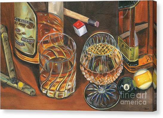 Amber Canvas Print - Scotch Cigars And Poll by Debbie DeWitt