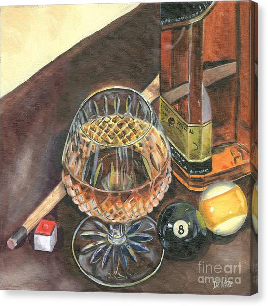 Scotch Canvas Print - Scotch Cigars And Pool by Debbie DeWitt
