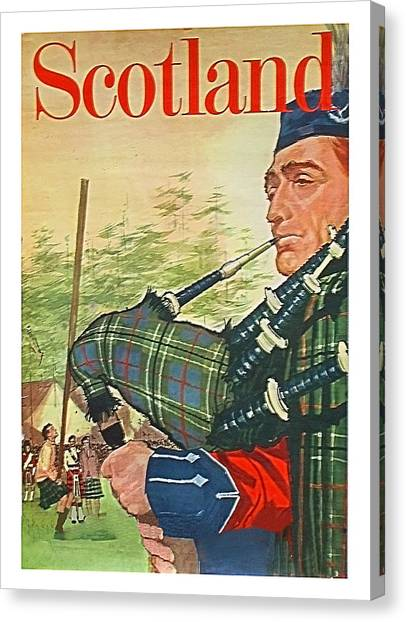 Bagpipes Canvas Print - Scotland,traditional Man Playing Bagpipes,travel Poster by Long Shot