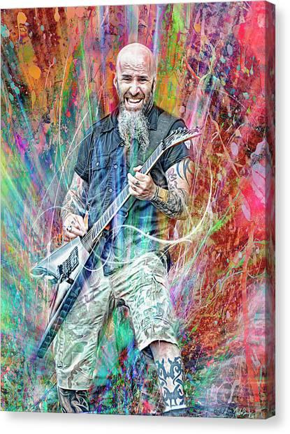 Jeff Hanneman Canvas Print - Scott Ian, Anthrax by Mal Bray