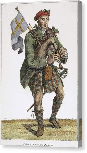 Bagpipes Canvas Print - Scottish Bagpiper, 1786 by Granger