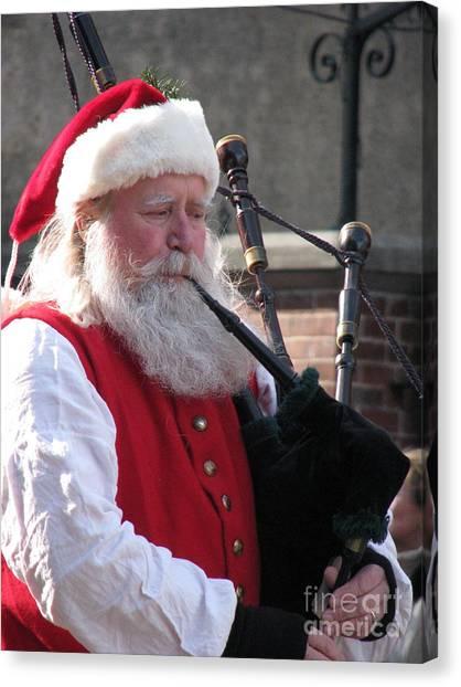 Bagpipes Canvas Print - Scottish Santa by Staci-Jill Burnley