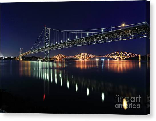 Scottish Steel In Silver And Gold Lights Across The Firth Of Forth At Night Canvas Print