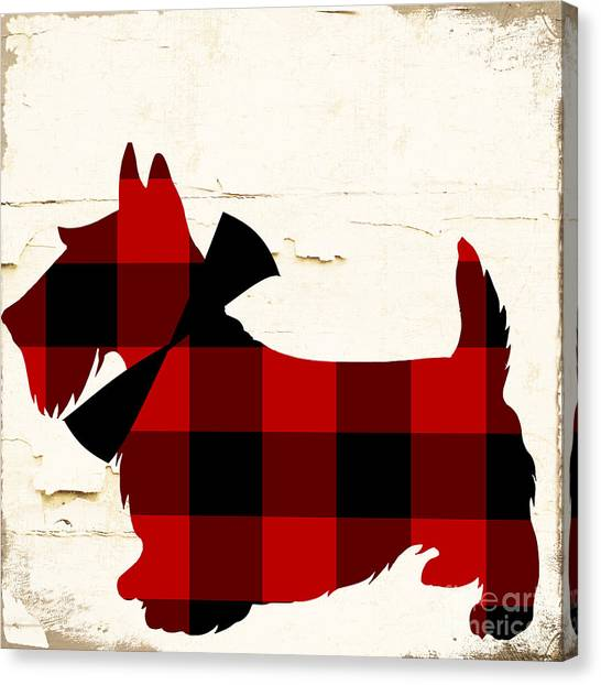 Schnauzers Canvas Print - Scottish Terrier Tartan Plaid by Mindy Sommers