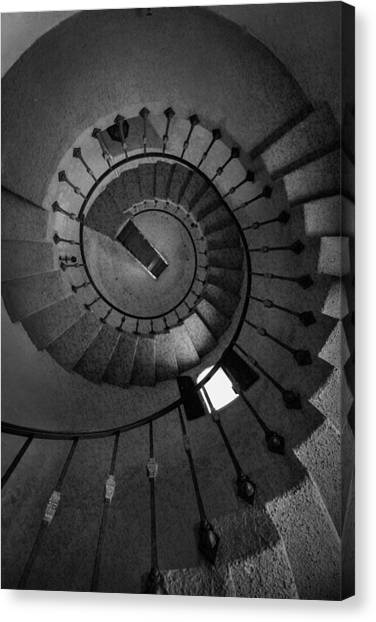 Scotty Canvas Print - Scottys Castle Stairwell B W by Steve Gadomski