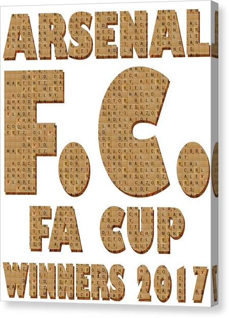 Arsenal Fc Canvas Print - Scrabble Arsenal Fa Cup by Gary Hogben