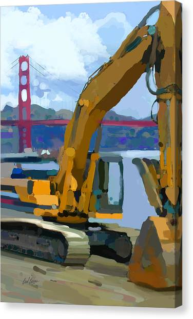 Bulldozers Canvas Print - Scratcher by Brad Burns