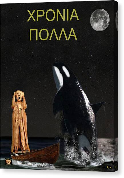 Scream With Orca Greek Canvas Print by Eric Kempson
