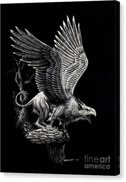 Griffons Canvas Print - Screaming Griffon by Stanley Morrison
