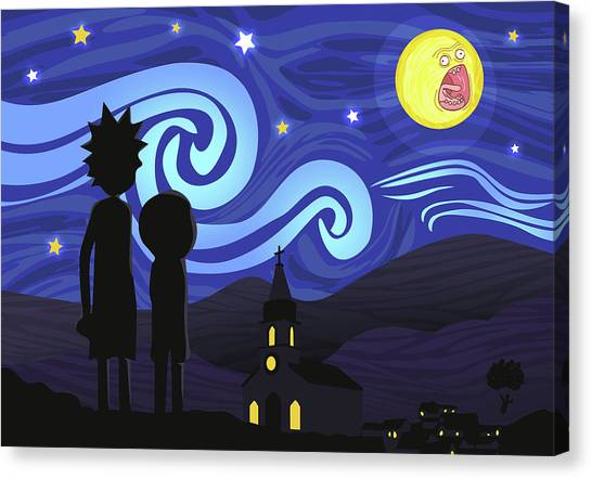 Canvas Print featuring the digital art Screaming Night By Van Gogh by Rick And Morty