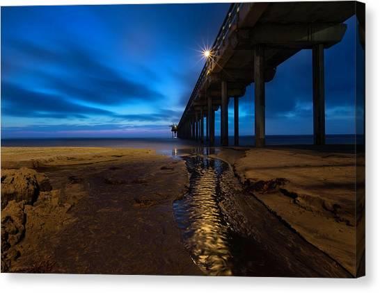 Scripps Pier Canvas Print - Scripps Pier Blue Hour by Larry Marshall
