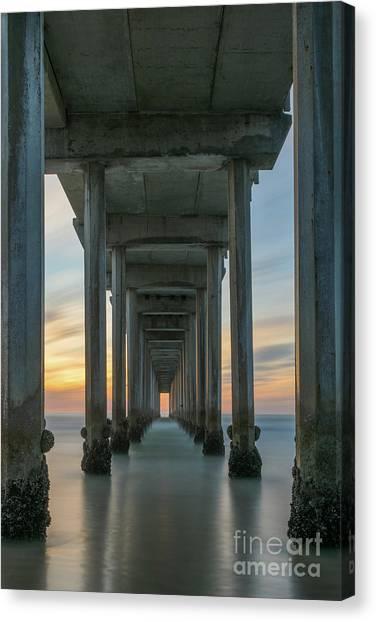 Scripps Pier Canvas Print - Scripps Pier Pillars  by Michael Ver Sprill