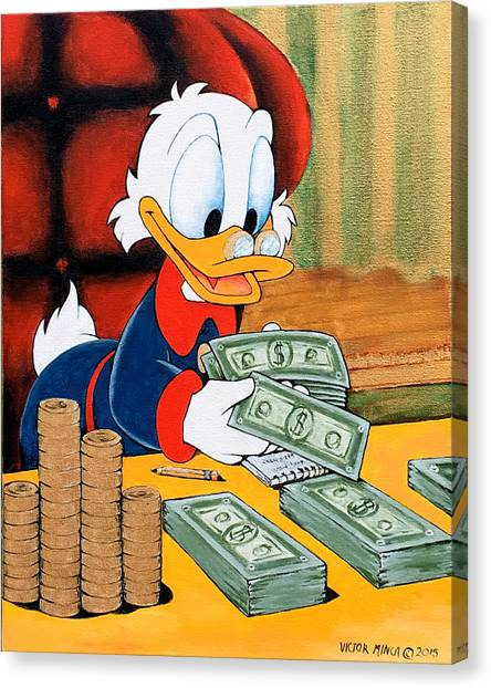 Scrooge Mcduck Counting Money Canvas Print