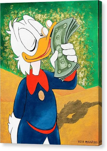 Scrooge Mcduck Kissing Money Canvas Print