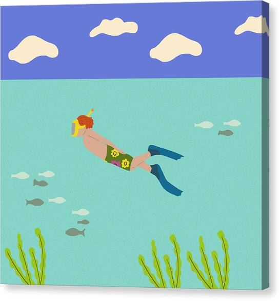 Scuba Diving Canvas Print - Scuba Boy by Nicole Wilson