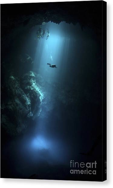 Spelunking Canvas Print - Scuba Diver Descends Into The Pit by Karen Doody
