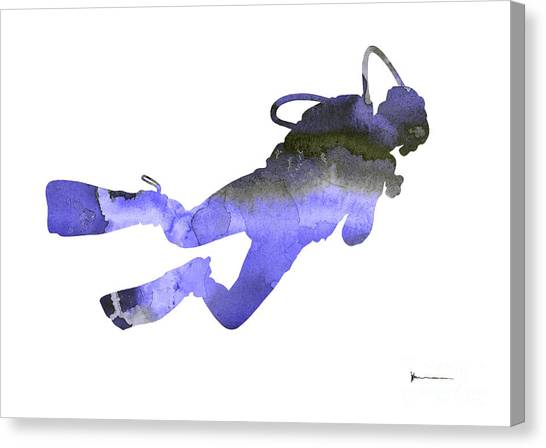 Scuba Diving Canvas Print - Scuba Diver Watercolor Silhouette by Joanna Szmerdt