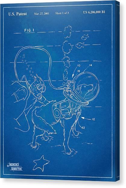 Scuba Diving Canvas Print - Scuba Doggie Patent Artwork 1893 by Nikki Marie Smith