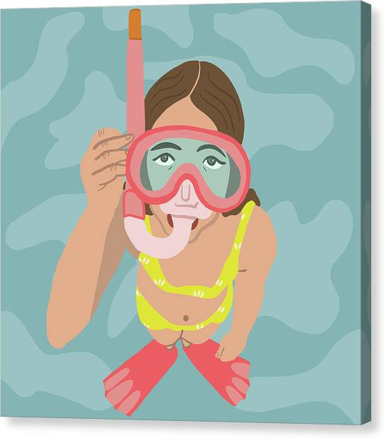 Snorkling Canvas Print - Scuba Girl by Nicole Wilson