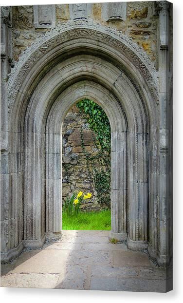 Canvas Print featuring the photograph Sculpted Portal To Irish Spring Garden by James Truett
