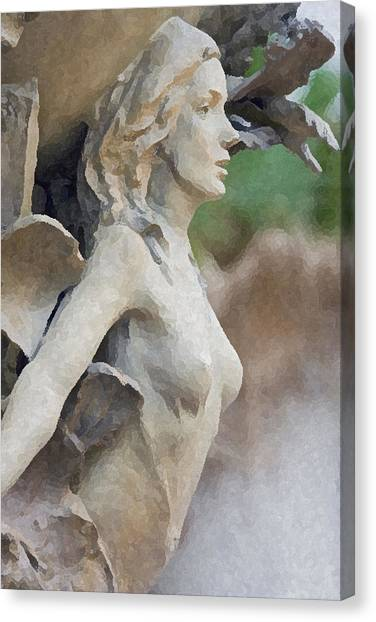 Sculpture Of Angelic Woman Canvas Print by Christopher Purcell