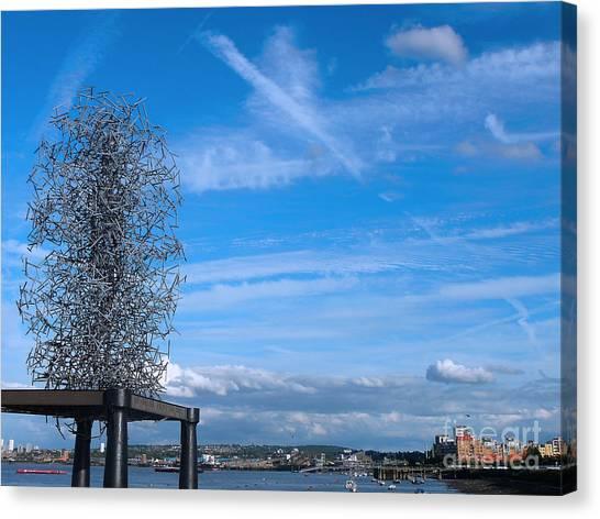 Sculpture, Skyline And Docs Canvas Print