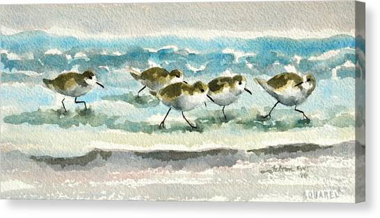 Scurrying Along The Shoreline 2  1-6-16 Canvas Print