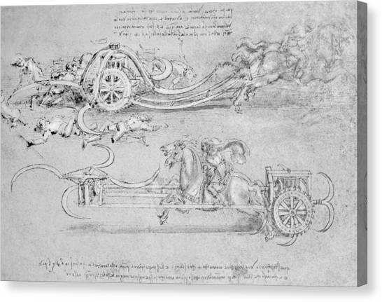 Pen And Ink Drawing Canvas Print - Scythed Chariot by Leonardo Da Vinci