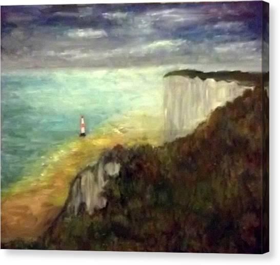 Sea, Cliffs, Beach And Lighthouse Canvas Print