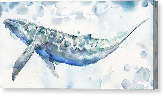 Blue Whales Canvas Print - Sea Giant by Mauro DeVereaux