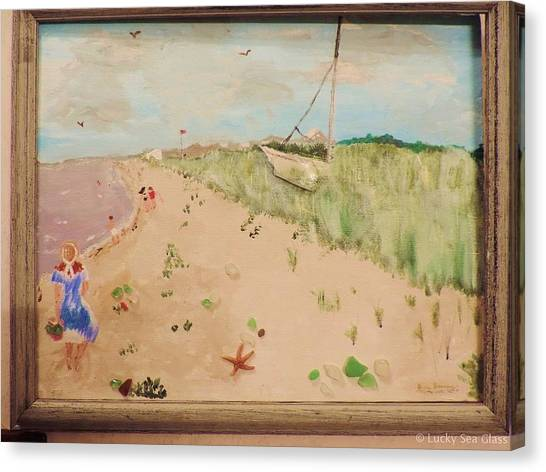 Canvas Print featuring the painting Sea Glass Hunting by Jean Forman
