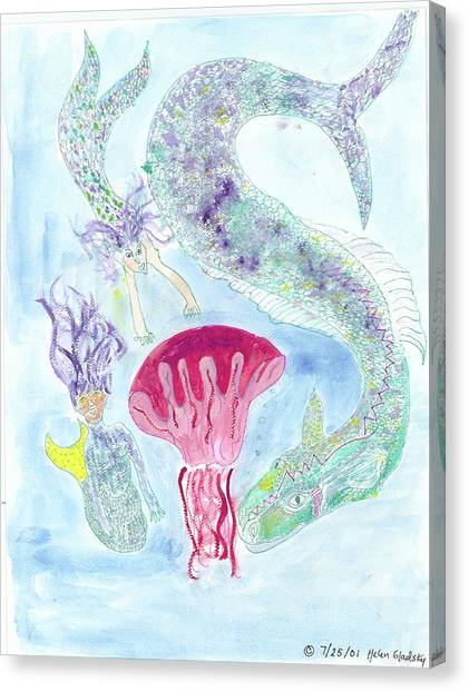 Sea Joys, Red Jelly Fish And Dragon Canvas Print