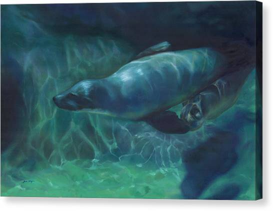 Sea Lion Mother And Baby Canvas Print by Joan Hogan