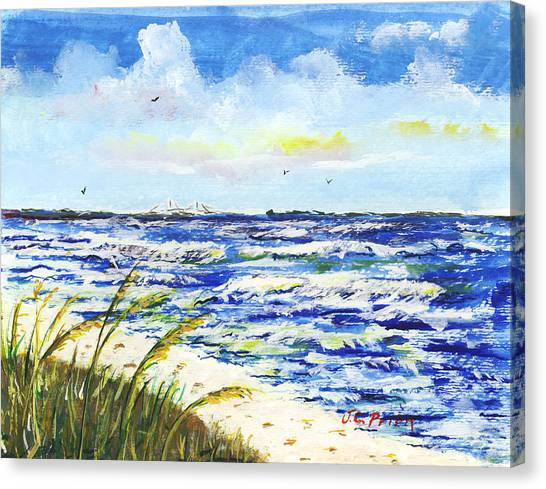 Sea Oats And Skyway Canvas Print by JC Prida
