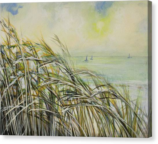 Sea Oats Sailboats Canvas Print by Michele Hollister - for Nancy Asbell