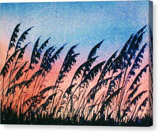 Sea Oats Silouette Canvas Print by Suzanne Krueger