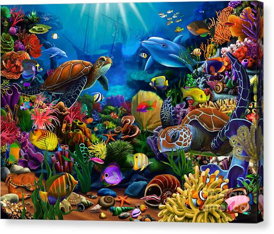 Coral Reefs Canvas Print - Sea Of Beauty by Gerald Newton