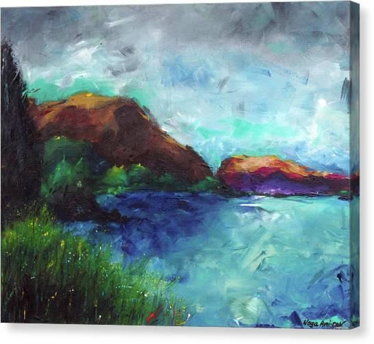 Sea Of Galilee And Mt Arbel Canvas Print by Noga Ami-rav