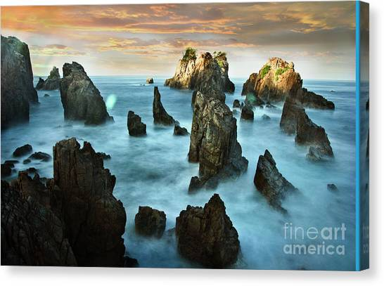 Pyrography Canvas Print - Sea Of Lampung Shark Teeth by Andy Maryanto