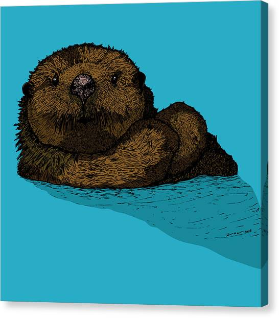 Sea Otter - Full Color Canvas Print by Karl Addison
