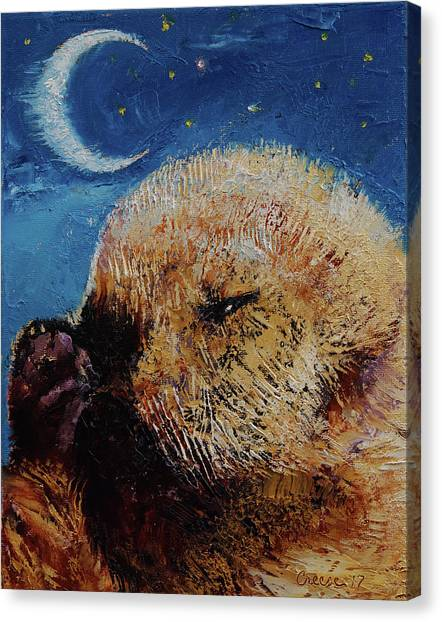 Otters Canvas Print - Sea Otter Pup by Michael Creese