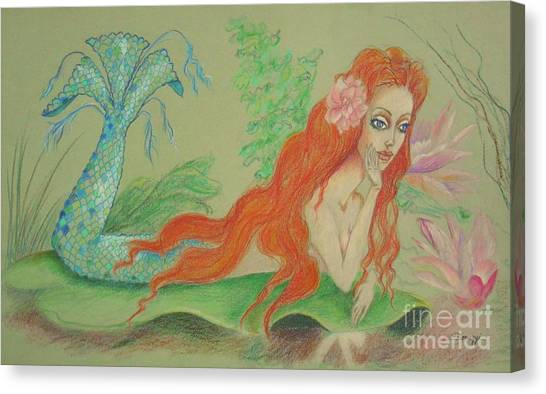Sea Siren, Resting -- Whimsical Mermaid Drawing Canvas Print