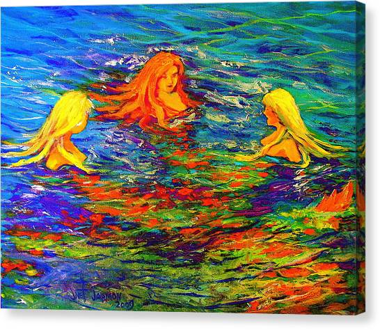 Canvas Print featuring the painting Sea Sisters Revisited by Jeanette Jarmon