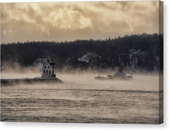 Sea Smoke At Rockland Breakwater Light Canvas Print